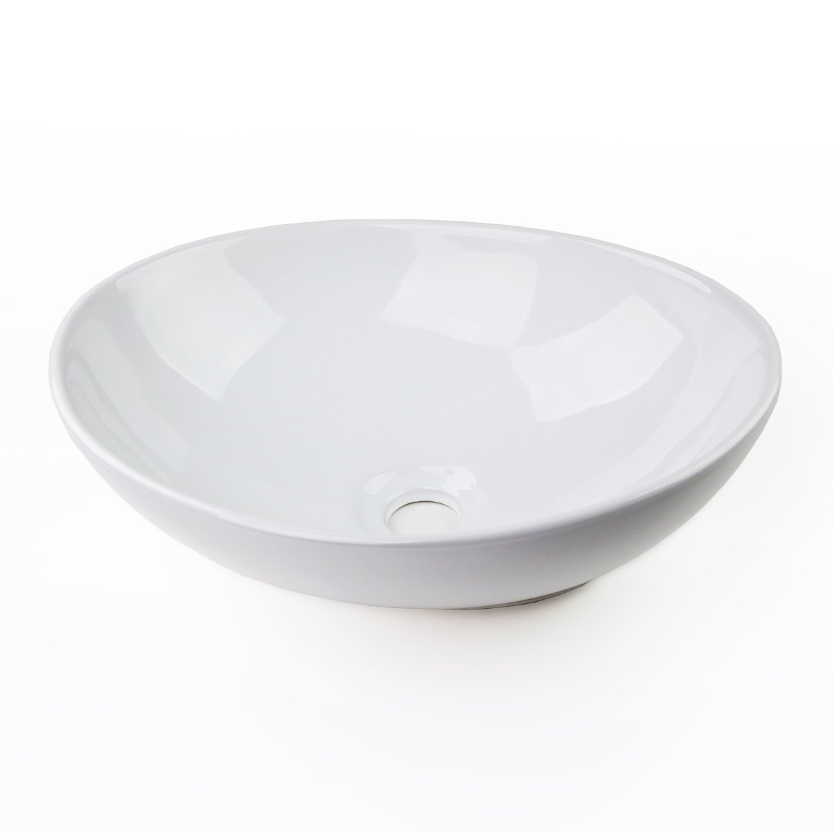 16''x13'' Egg Shape Ceramic Bathroom Vessel Sink Basin Faucet Without Overflow by FH