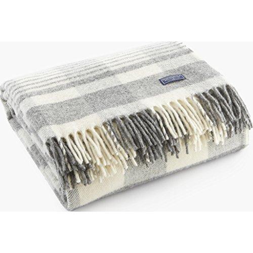 - Faribault Plaid 1920s Wool Throw - Gray/Natural