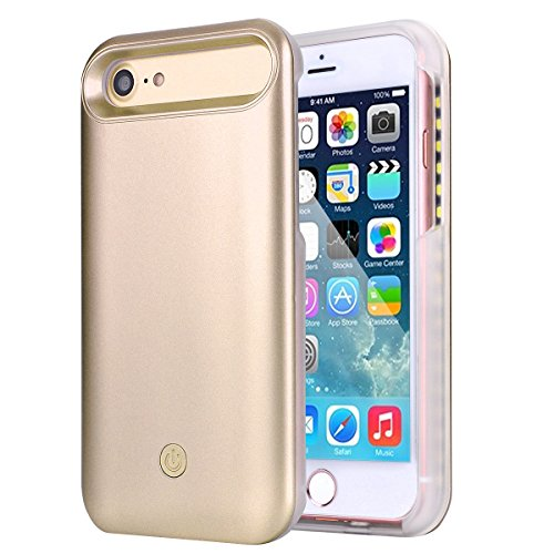 - VinSa Light Up 7 LED Selfie Light Up Illuminated Case for iPhone 8 / 7 / 6S / 6 - Gold