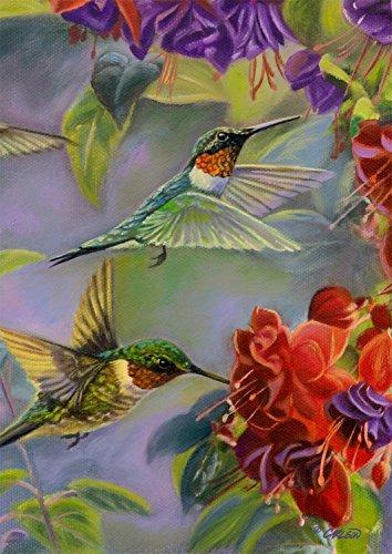 Hummingbird Spring Garden Flag Vibrant Flowers Flying Wildli
