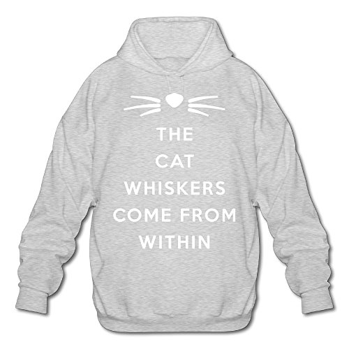 Sweatshirt Zippered Ash - Dan Phil Cat Whiskers Men's Fleece Hoodie Adult Sweater Ash S