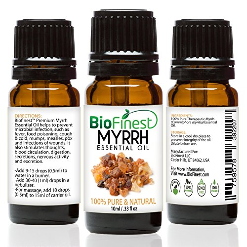 BioFinest Myrrh Oil - 100% Pure Myrrh Essential Oil - Premium Organic - Therapeutic Grade - Best For Aromatherapy - Boost Immune System - Heal Wound - FREE E-Book (10ml)