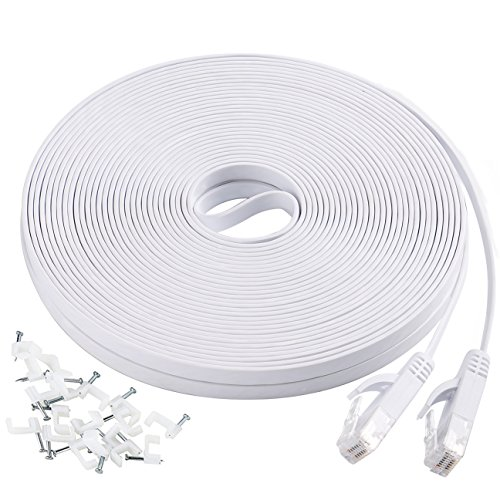 Cat6 Flat Ethernet Cable, 50 FT Computer LAN Internet Network Cable, Patch Cord with Clips with Snagless Rj45 Connectors for PS4, Xbox one, Switch, IP Cameras, Modem, Printers, Router -White