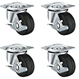 "4 Pack 2"" Swivel Caster Wheels Rubber Base with Top Plate & Bearing Heavy Duty 440LB (2 Inch with Brake)"