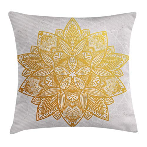 Gold Mandala Throw Pillow Cushion Cover by Ambesonne, Mystical Symbol with Geometric Circular Details Boho Lotus Inspiration, Decorative Square Accent Pillow Case, 18 X 18 Inches, Beige Gold White