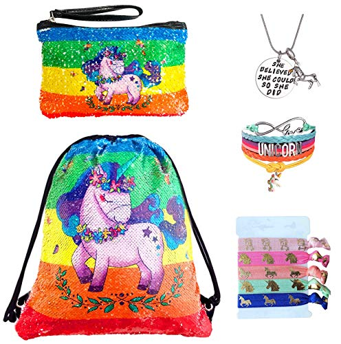 Unicorn Gifts for Girls - Unicorn Drawstring Backpack/Makeup Bag/Bracelet/Inspirational Necklace/Hair Ties