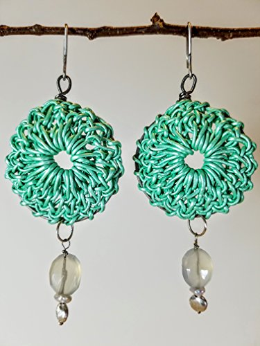Bright Mint Green Leather Rosette Earrings on Titanium Hoops with Oval Faceted Blue Chalcedony, Keishi Pearls and Brushed Sterling Beads on Sterling Silver Earwires - 100% Handmade