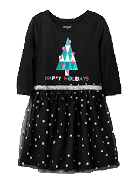 330e7a132485 Amazon.com: Cat & Jack Girls' Sparkle Happy Holidays Dress (Large ...
