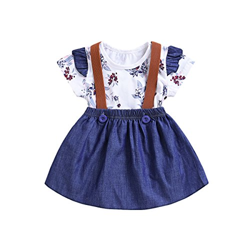 Mini Angel 2pcs Toddler Baby Romper Clothes Set Girl Floral Jumpsuit+Strap Skirt Outfits (Blue #2, 59(6-12Months))