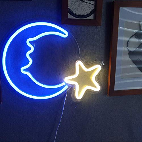15 LED Moon Star Shaped Neon Light Decor Christmas Wall Decor Xmas Art Sign Light for Home Decoration, Bedroom, Lounge, Office, Wedding, Christmas Party Operated by USB