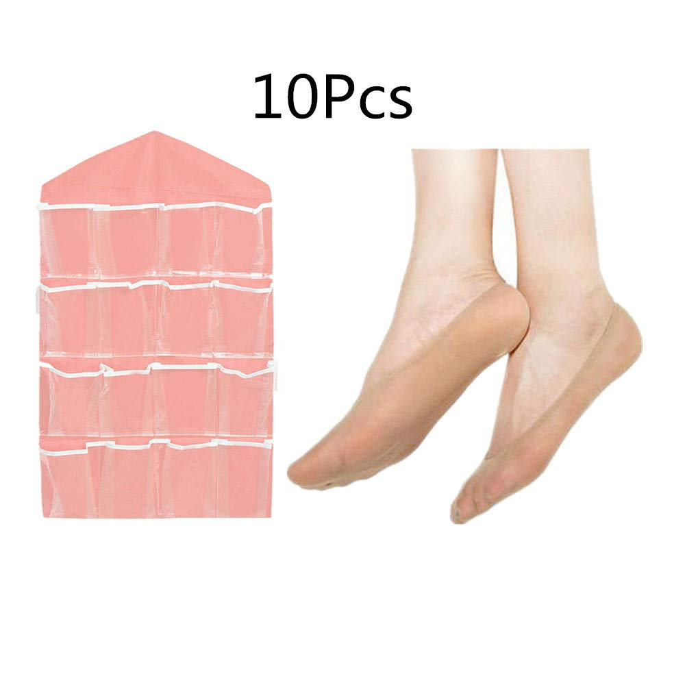 Fellibay Boot Socks for Girls Summer Low Cut Socks Girl Pack of 10 Pairs Fit Size 4.5-6.5 With Home Hanging Storage Bag