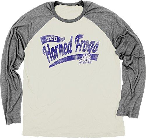 NCAA TCU Horned Frogs Men's Dyed Long Sleeve Raglan Sweater, Ivory, X-Large