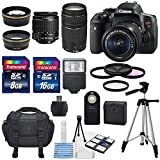 Cheap Canon EOS Rebel T6i 24.2MP DSLR Digital Camera & Canon EF-S 18-55mm f/3.5-5.6 IS STM & Canon EF 75-300mm f/4-5.6 III Lens +HD 58mm wide angle & Telephoto Lens +Total 24GB of Memory +Deluxe Bundle