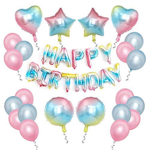 Rainbow Birthday Decorations,Happy Birthday Banner Rainbow Round Star Heart Shape Foil Balloons Latex Balloon with Ribbon,for Girls Boys Birthday Party Decorations