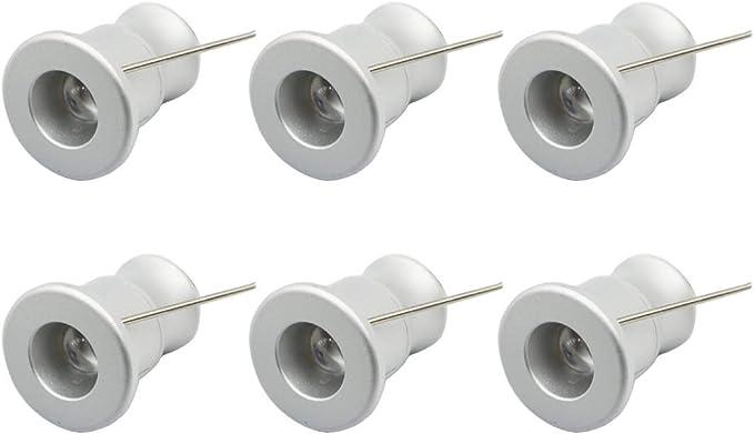 colore argento Nero collegabili sotto armadietto 2,7 cm alluminio Warm White 3000K 1.50watts 12.00volts Confezione da 6 faretti LED da 12 V