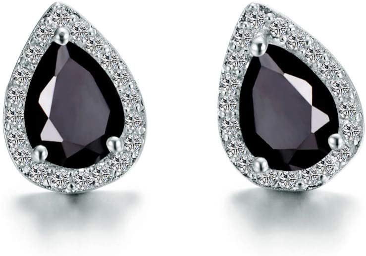 Pendientes de Piedras Preciosas de Color con Incrustaciones de Diamantes, Pendientes Creativos en Forma de Gota, Pendientes Hipoalergénicos, Joyas Ecológicas, Joyas de Regalo,Negro,Como se muestra