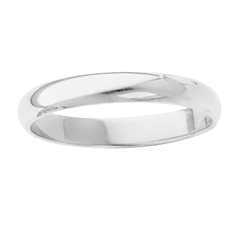 Dainty 10k White Gold Endless Classic Band Traditional 2mm Wedding Ring for Women, Size 6.75