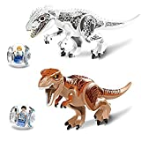 OULII Dinosaurs Toy Indominus Tyrannosaurus Rex Zach Simon Masrani Minifigure Building Block,2-Set