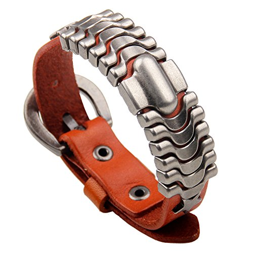Genuine Orange Bracelets (Brilendid Retro Star Rivet Design Adjustable Mens Leather Cuff Bracelet with Buckle Clasp (Orange))