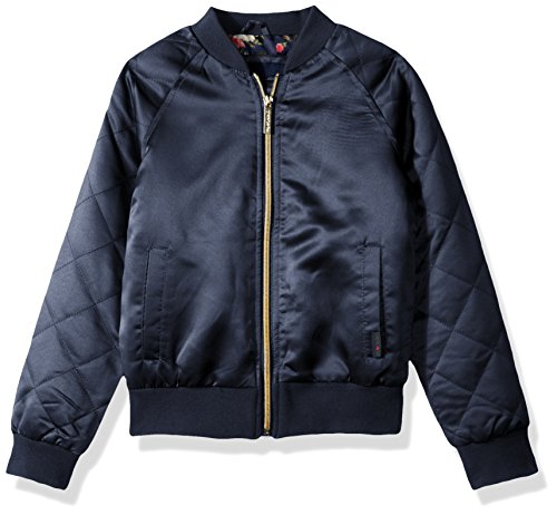 LiMiTeD Too Big Girls' Too Bomber W/Allover Print and Quilted Sleeves, Navy, 10/12