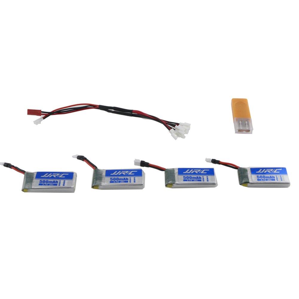 JJR//C 4pcs 3,7 V 500mAh LiPo Batterie Batterien und USB Ladeger/ät und Ladekabel f/ür JJRC H43 H43HW Quadcopter