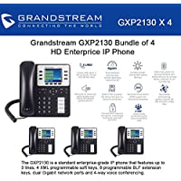 Grandstream GXP2130 Bundle of 4 HD Enterprise IP phone 3 lines Color LCD PoE