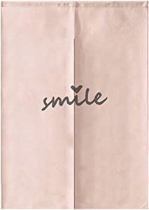 MYRU Japanese Curtain Noren Japanese Curtain Entrance Feng Shui Door Curtain (Pink Smile,33.5 Inches x 59 Inches)