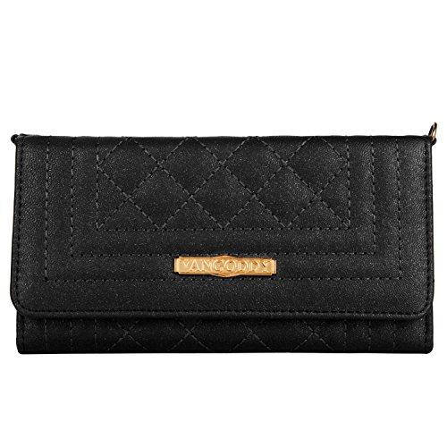 Quilt Handbag Purse (Vangoddy Women's PU Leather Diamond Quilt Gold Chain Wallet Purse Handbag Clutch for Motorola Moto G5s G5 Plus / E4 Plus / Z2 / Z2 Play / C / Z2 Force / X4 (Black))
