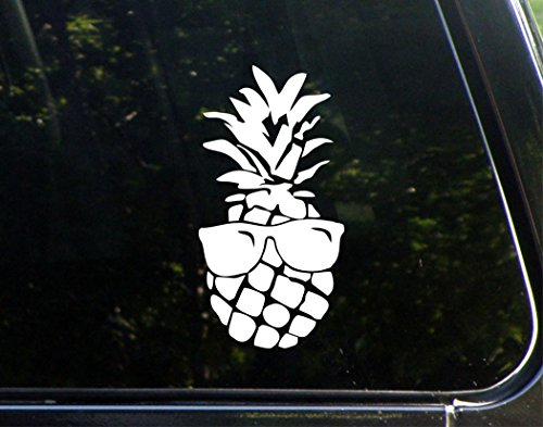 "Pineapple With Sunglasses - 3-3/4"" x 7-1/4"" - Vinyl Die Cut"