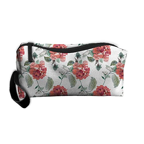 Travel Cosmetic Pouch Watercolor Colorful Blooming Floral Fl