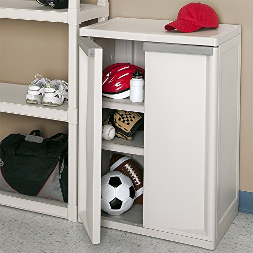 Sterilite 01408501 2-Shelf Cabinet with Putty Handles, Platinum - bedroomdesign.us