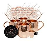 Set of 20 Pure Copper Moscow Mule Mugs by Mule Science with BONUS: Highest Quality Cocktail Copper 20 Straws, 2 Shot glasses and 20 coasters!