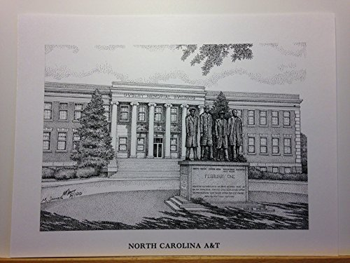 North Carolina A&T - ''February One'' 9''x12'' pen and ink print by Campus Scenes