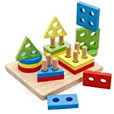 PES Geometric Stacker Shape Sorter Plan Geometric Sorting Board Educational Toys for 1 2 3 Year Olds
