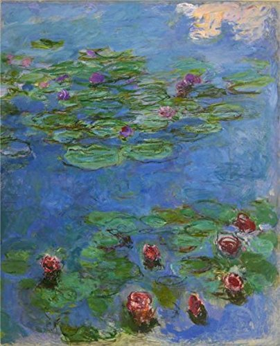 (Oil Painting 'Red Water-Lilies, 1908 By Claude Monet', 10 x 12 inch / 25 x 31 cm , on High Definition HD canvas prints is for Gifts And Bar, Basement And Nursery Decoration, prices)