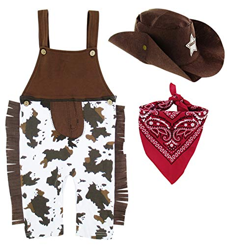 A&J DESIGN Toddler Boys Western Cowboy Romper Costume Sets (4T. Brown) -