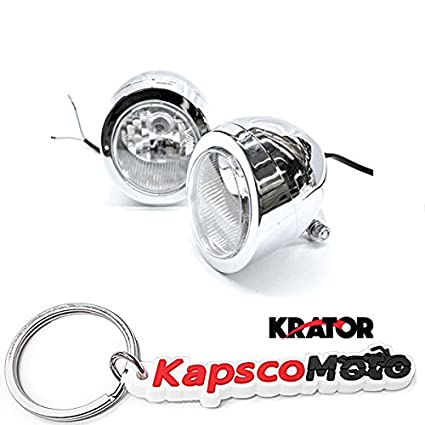 Krator Custom Chrome Passing niebla Mini faro cabeza luz ...