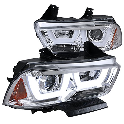 Spec-D Tuning 2LHP-CHG11-TM Dodge Charger Euro Chrome Dual Halo LED DRL Projector Headlights Pair