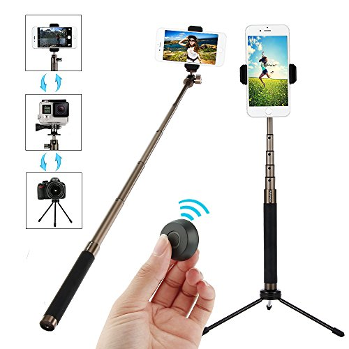 Bluetooth Selfie Stick Tripod Set with Remote, Moreslan 72cm Extendable Phone Tripod Monopod for iOS & Android Smartphones, SLR, Gopro, 360 Degree Rotation Support Photo and Video by Moreslan