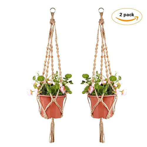 T-Easy 2 Pack Macrame Plant Hanger Indoor Outdoor Hanging Planter Basket Jute Rope 4 Legs 36 Inch – Strong Handmade Jute  Retro Feeling
