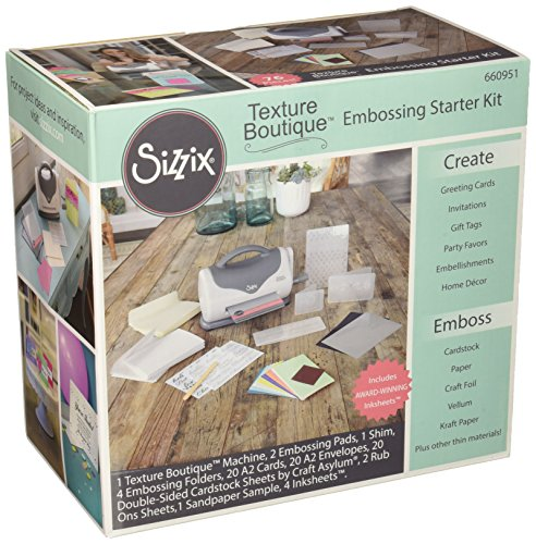 Sizzix 660951 Texture Boutique Embossing Machine Starter Kit, White & Gray