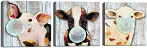 Visual Art Decor Rustic Farm House Animals Canvas Poster Prints Cute Little Pig Cow Sheep with Gum Bubble Picture Painting Retro Wood Textured Background for Home Bedroom Decoration
