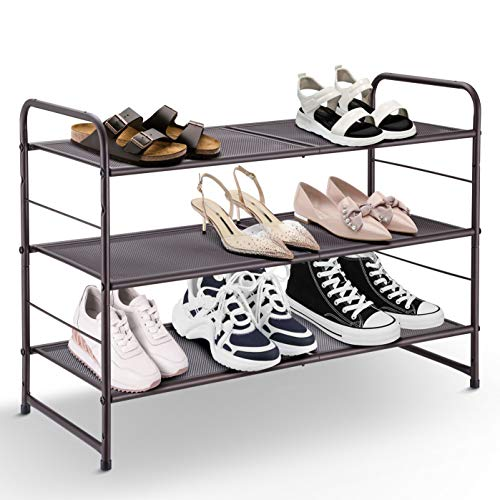 Simple Trending 3-Tier Stackable Shoe Rack, Expandable & Adjustable Shoe Shelf Storage Organizer, Metal Mesh, Bronze (Shoe Rack Expandable)