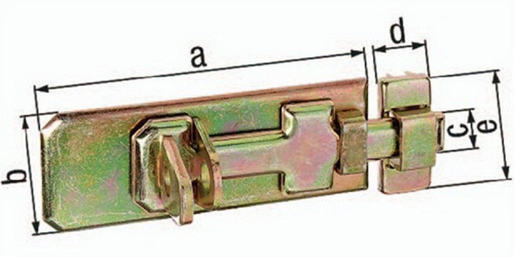 Sicherheits-Schlossriegel 140x55x20x24x56mm Stahl roh galv. gelb verz. GAH