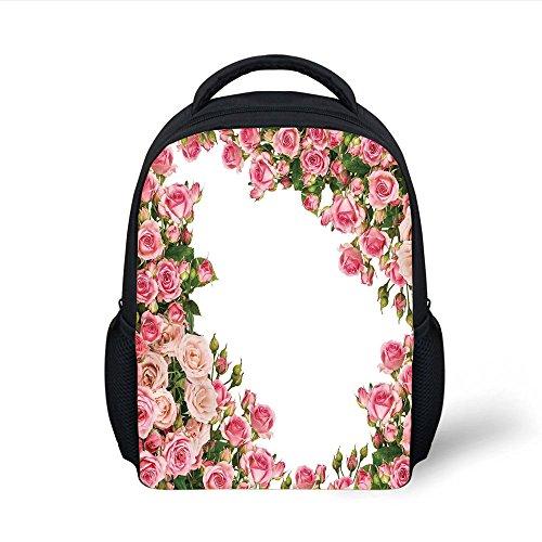 Bush Frame (iPrint Kids School Backpack Roses Decorations,Romantic Rose Bushes Frame Bridal Marry Park Summer Occasions Decorative Image, Plain Bookbag Travel Daypack)
