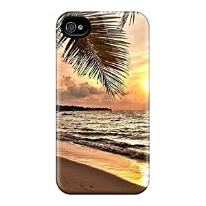 Flexible Tpu Back Case Cover For Iphone 4/4s - Sunset On A Tropical Beach