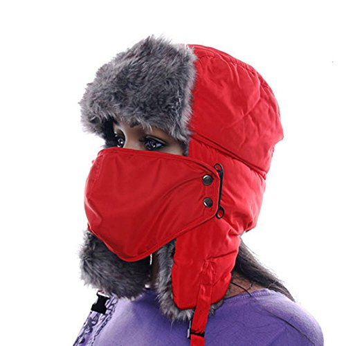 winter Warm Proof Trapper Hat Women aviator hat Solid color hat boutdoor ear flaps bomber caps (Red)