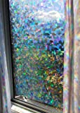 Decorative Window Film Holographic Prismatic Etched Glass Effect - Fill Your House with Rainbow Light 23'' X 36'' Panel - Crystal Pattern