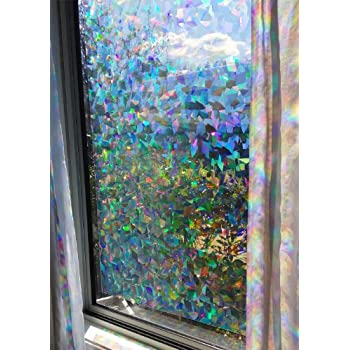 Amazoncom Decorative Window Film Holographic Prismatic Etched - Stained glass window stickers amazon