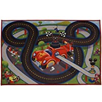 Gertmenian Disney Mickey Mouse Toys Rug Roadster Racer 2017 HD Ed. MMCH Clubhouse Game Rugs 32x44 w/ Mouse Ears Track + 1 Mickey Goofy Toy Car